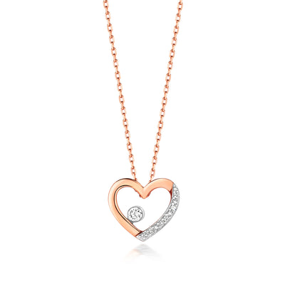 9k GOLD HEART DIAMOND NECKLACE 0.06 CT DIAMOND WEIGHT