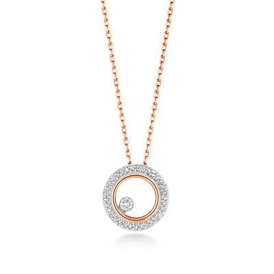 9k GOLD CIRCLE DIAMOND NECKLACE 0.08 CT DIAMOND WEIGHT