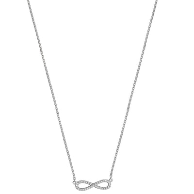 18k WHITE GOLD DIAMOND INFINITY NECKLACE 16 3/4INCH 0.09CT DIAMOND WEIGHT