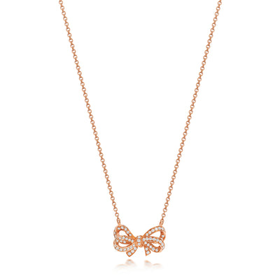 18K GOLD DIAMOND BOW NECKLACE 0.30CT DIAMOND WEIGHT
