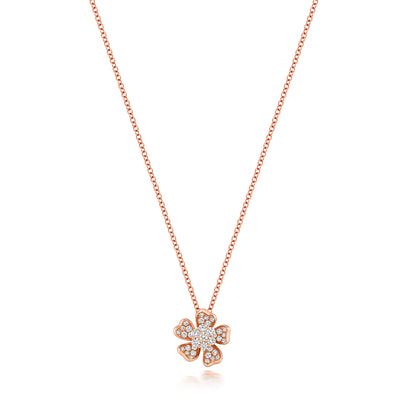 18k ROSE GOLD DIAMOND FLOWER NECKLACE 16/17 INCH 0.40CT DIAMOND WEIGHT