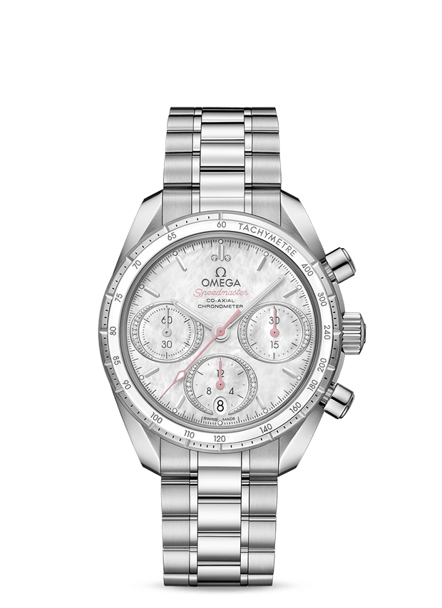 Omega Speedmaster Ladies' Steel Stone Set Chronograph 324.30.38.50.55.001