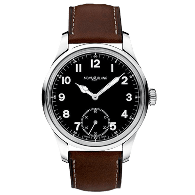 Montblanc 1858 Men's Stainless Steel Brown Leather Strap Watch 3084884