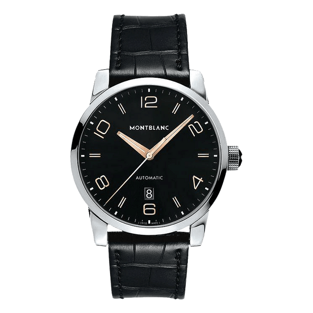 Montblanc Timewalker Men's Black Leather Strap Watch 2225417