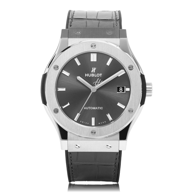 HUBLOT Classic Fusion Racing Automatic Date Titanium Grey Dial Unisex Watch 511.NX.7071.LR