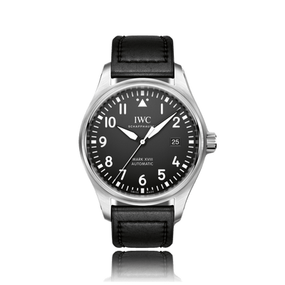 IWC Schaffhausen Pilot Automatic Stainless Steel Black Dial Mens Watch IW327001