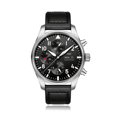 IWC Schaffhausen Pilot Chronograph Automatic Stainless Steel Black Dial Mens Watch IW377709