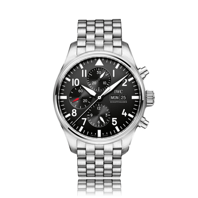 IWC Schaffhausen Pilot Automatic Stainless Steel Black Dial Mens Watch IW377710