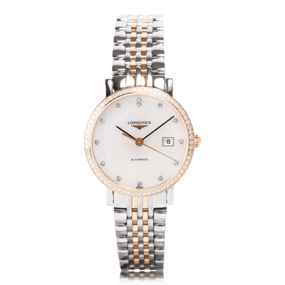 LONGINES Elegant Automatic Steel & Rose Gold Ladies Watch L43105887