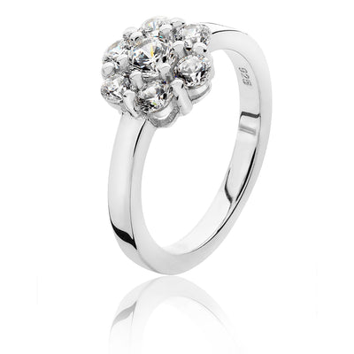 SILVER & CO 925 SILVER FLOWER CLUSTER CUBIC ZIRCONIA RING