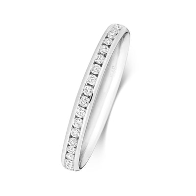 18CT WHITE GOLD 2.2MM FULL DIAMOND ETERNITY RING 0.40CT DIAMOND