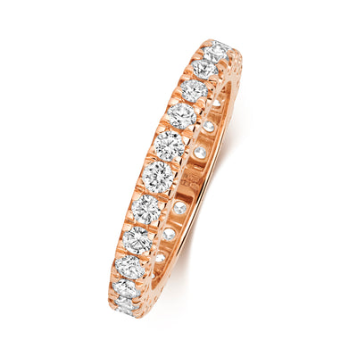 18CT ROSE GOLD 2.9MM FULL CLAW DIAMOND ETERNITY RING 1.00CT DIAMOND