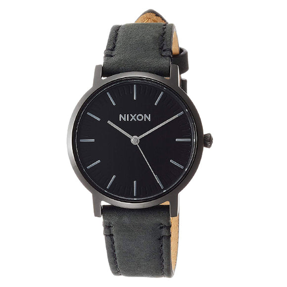 [NIXON ニクソン] 腕時計 PORTER 35 LEATHER ALL BLACK/SILVER 正規輸入品 ユニセックス