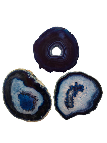 3 pieces Blue Agate Slice Size *3-Oddball Crystals