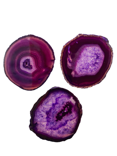 3 pieces Purple Agate Slice Size *3-Oddball Crystals