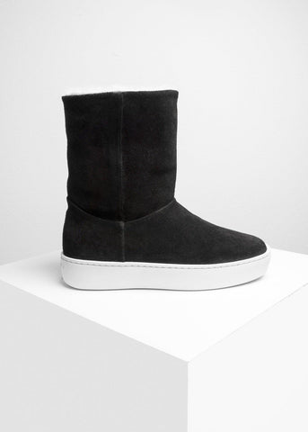 Woody High Black Suede Leather-Public Relations Footwear