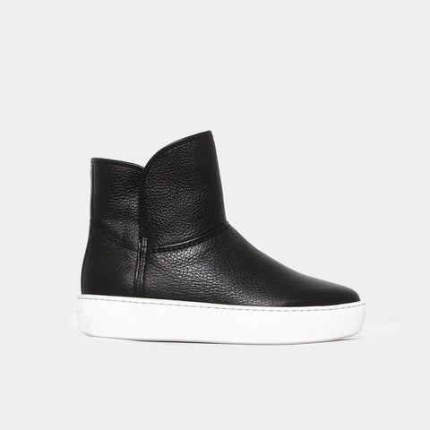 Woody Mid - Black Grained Leather-Public Relations Footwear