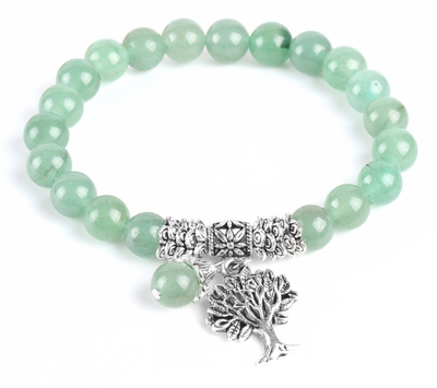 f3bd7f33e410d Green Aventurine gemstone bracelet with Tree of Life charm pendant ...
