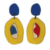 Double layered yellow abstract earrings