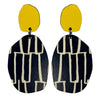 Yellow and City pattern earrings