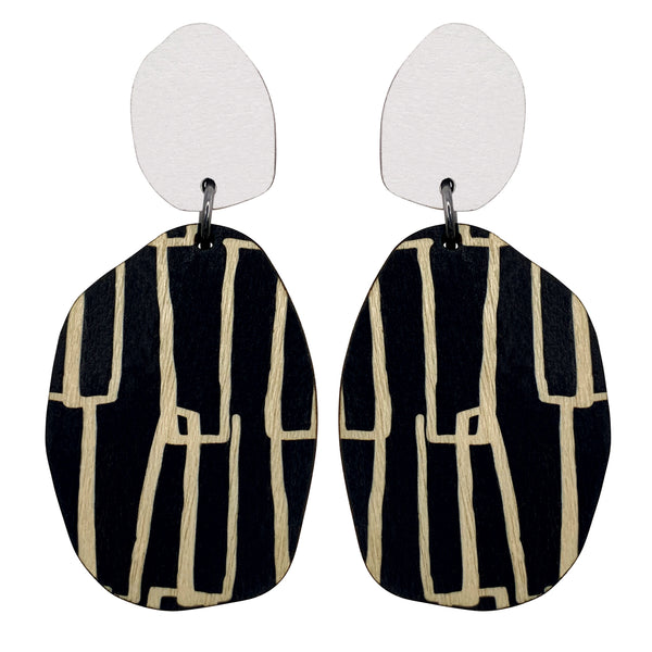 White and City pattern earrings
