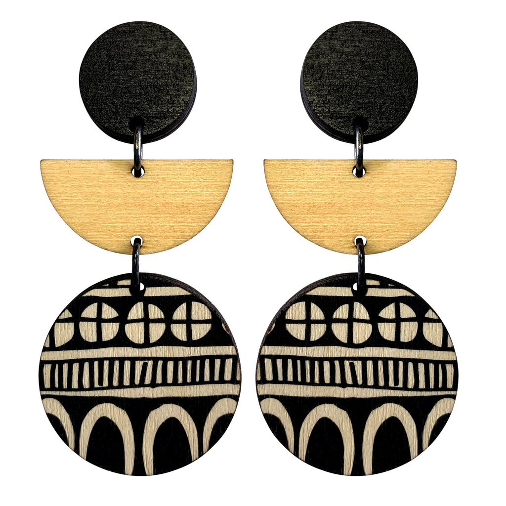 3 tiered doodle statement earrings in black and wood