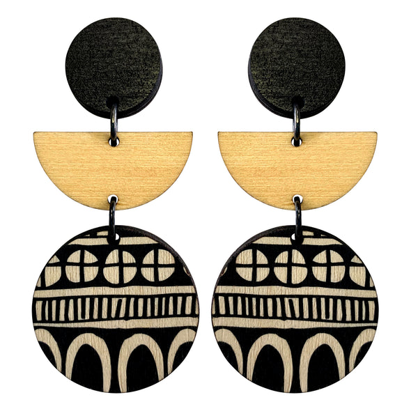 3 tiered doodle earrings in black and wood