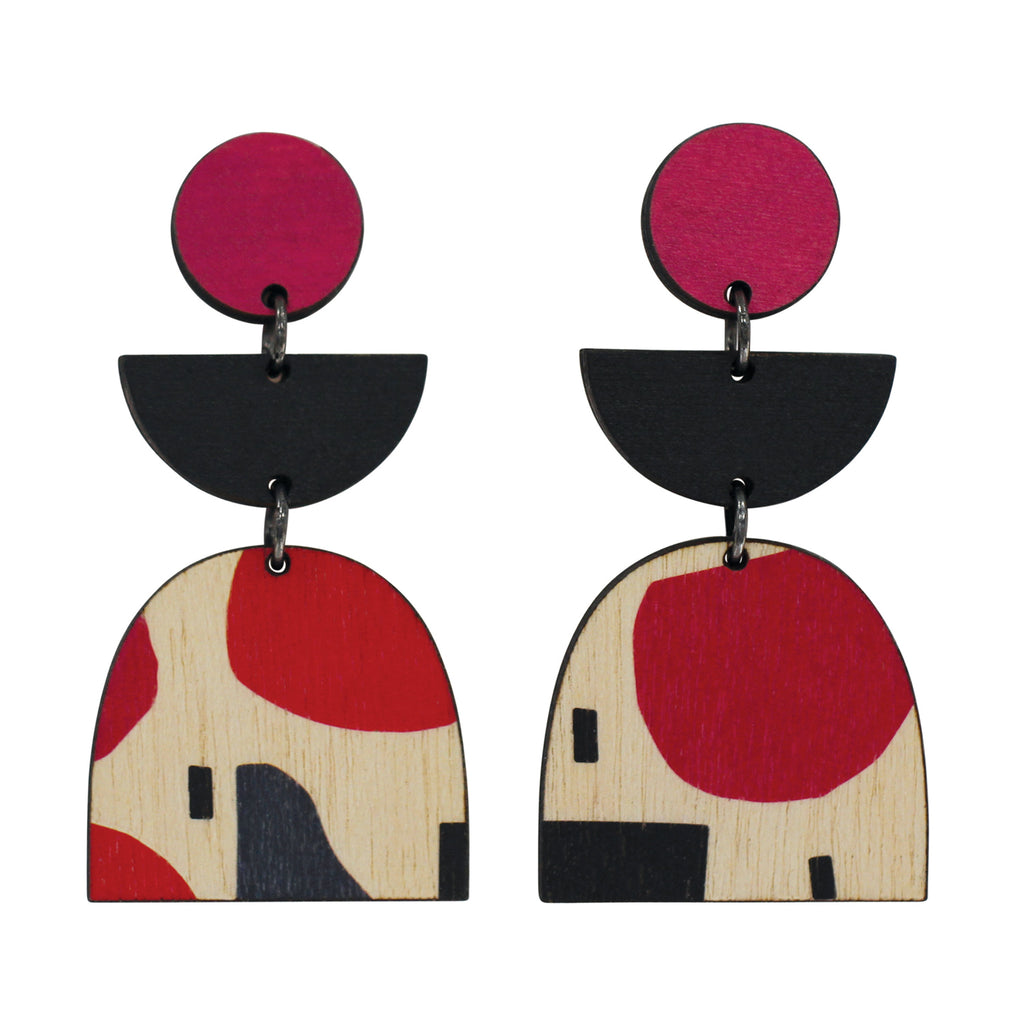 3 tiered wooden Abstract statement earrings with red and black