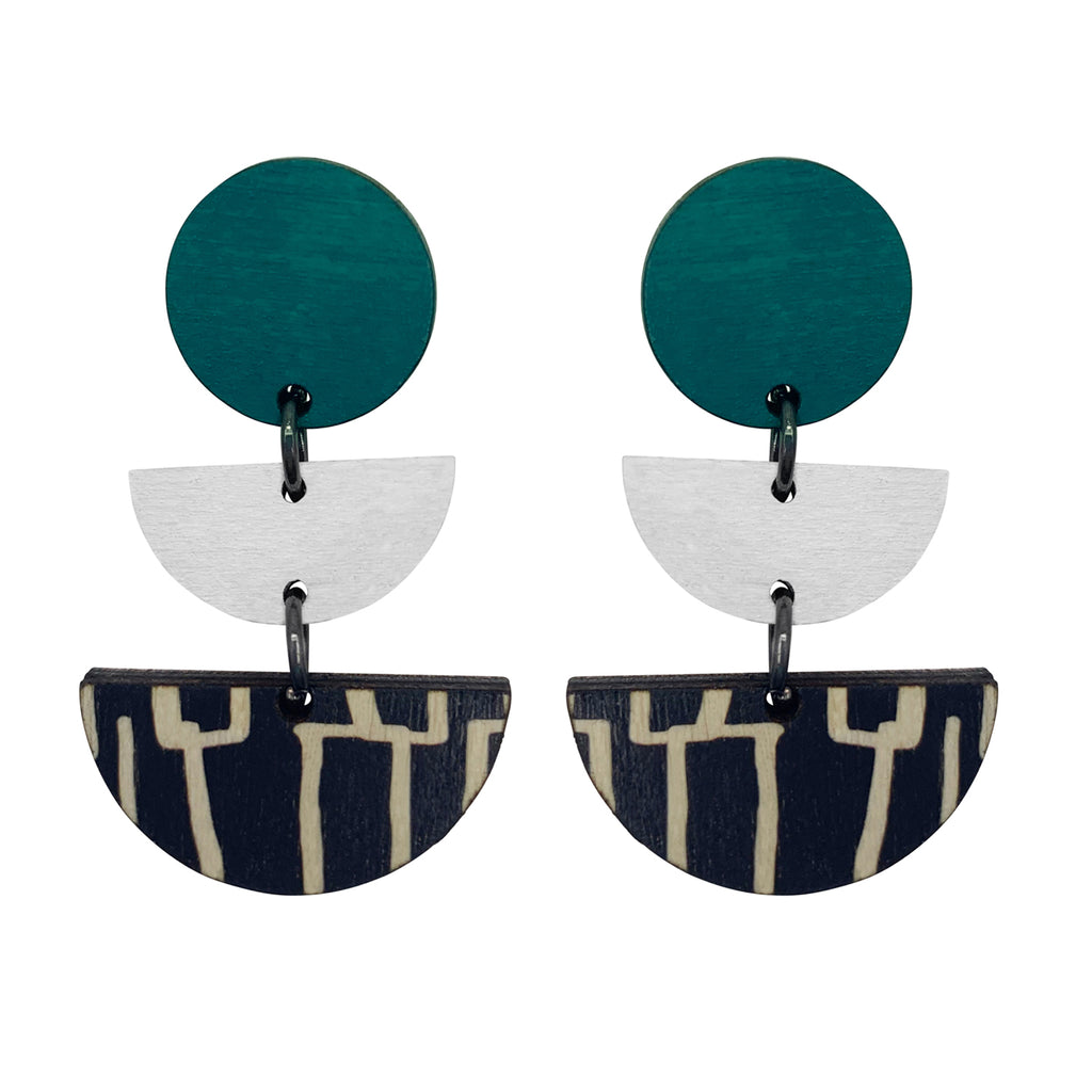 3 tiered wooden city earrings with teal and white