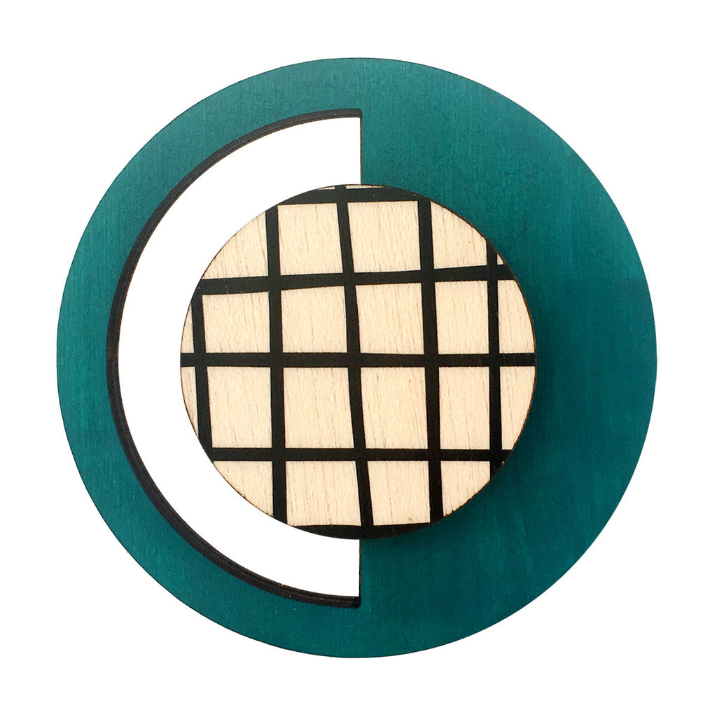 Geo brooch in green
