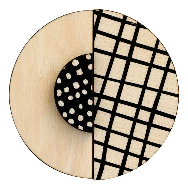Black lines and spots brooch