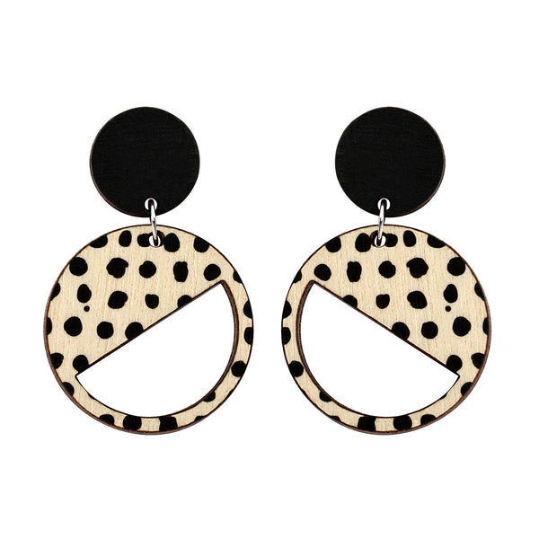 2 tiered earrings with black and black spots
