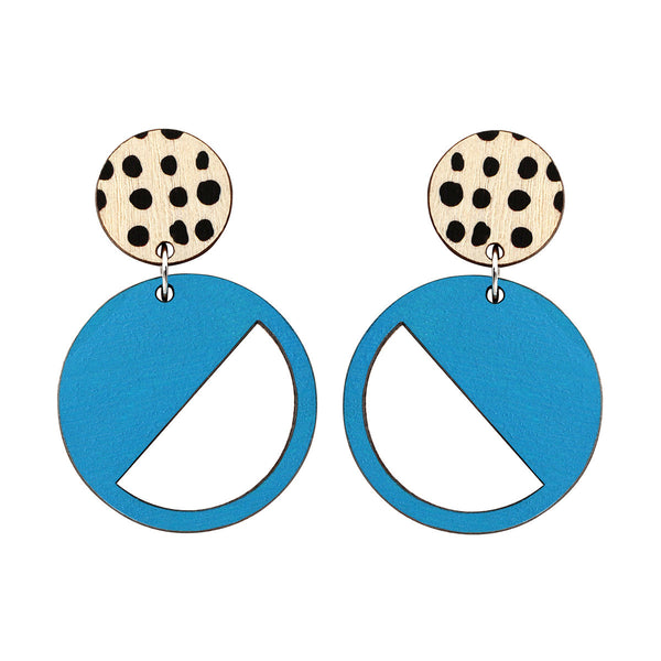 2 tiered earrings with spots in blue