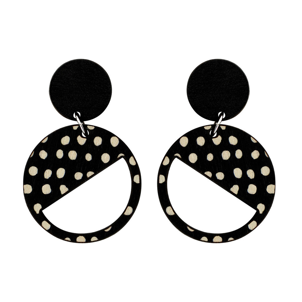 2 tiered earrings with black and spots