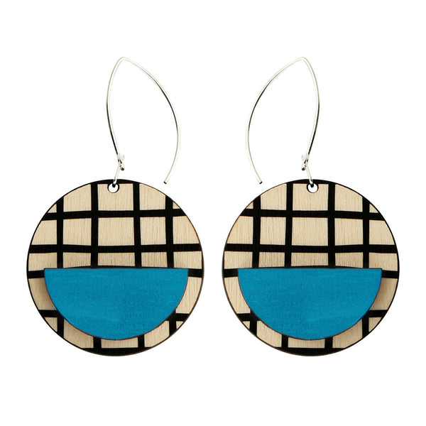 Drop line earrings with blue