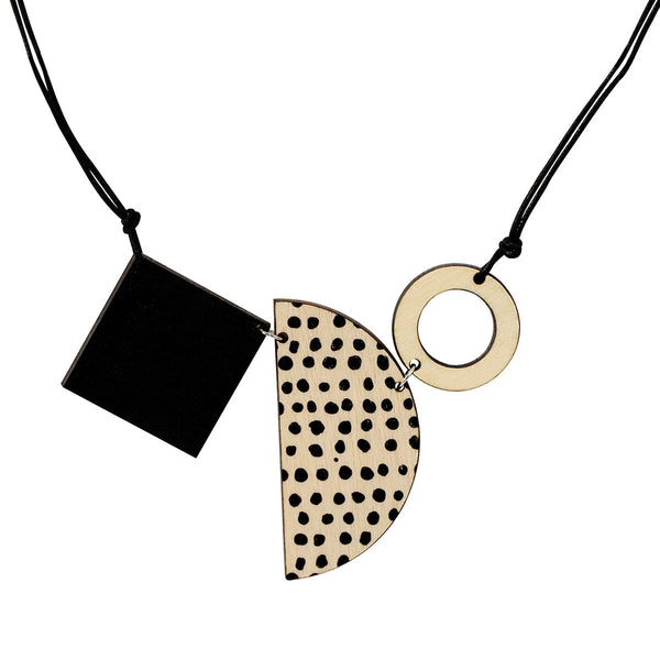 Square, semi-circle and circle necklace in black