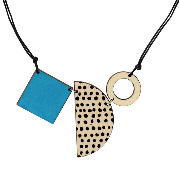 Square, semi-circle and circle necklace in blue