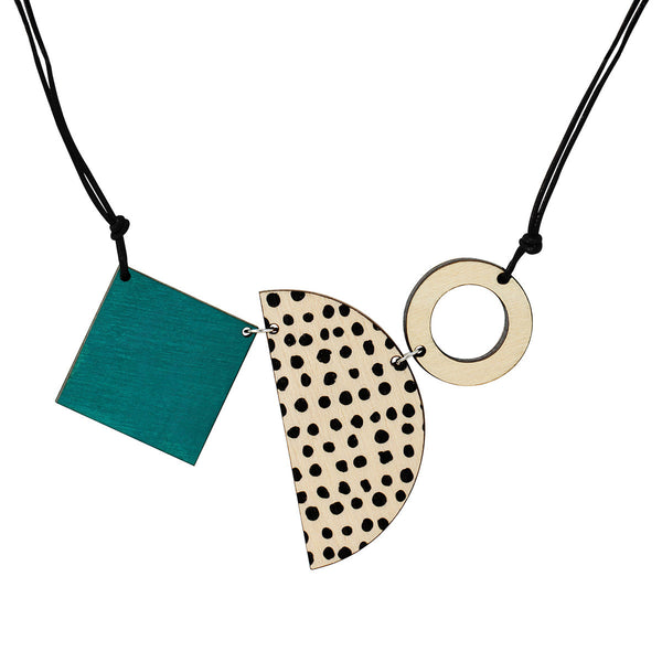 Square, semi-circle and circle necklace in green