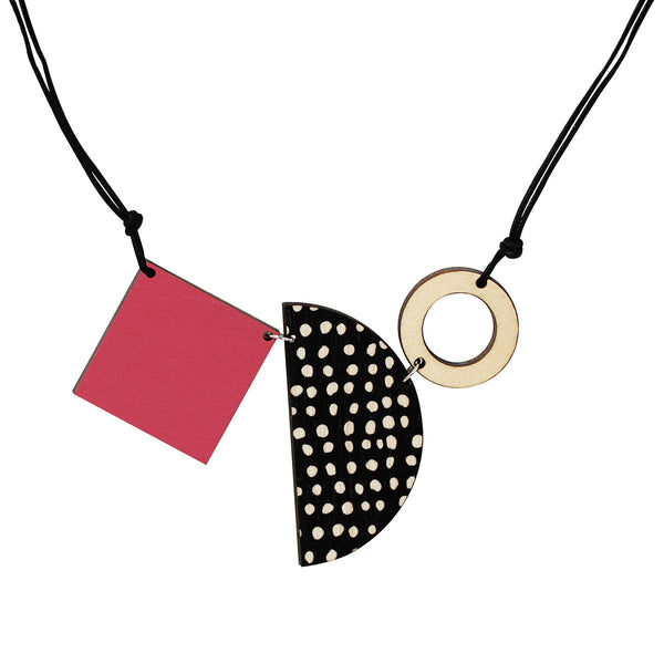 Square, semi-circle and circle necklace in pink