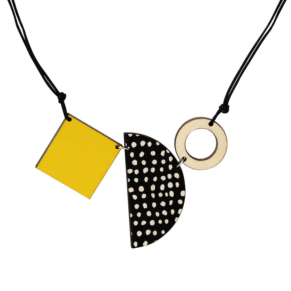 Square, semi-circle and circle necklace in yellow