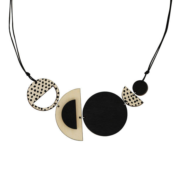 Circles and spots necklace in black