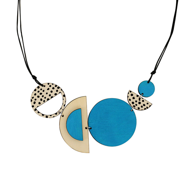 Circles and spots necklace in blue