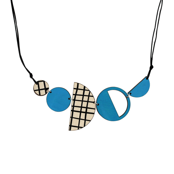 Geo necklace in blue