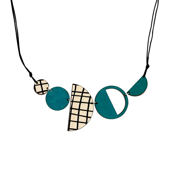 Geo necklace in green