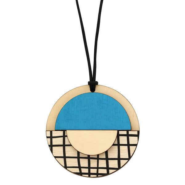 Geo circle pendant with blue