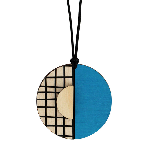 Circle lines pendant with blue