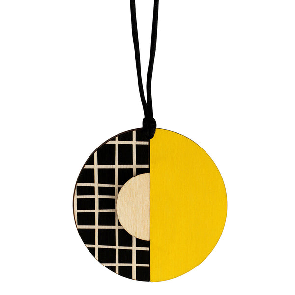 Circle lines pendant with yellow