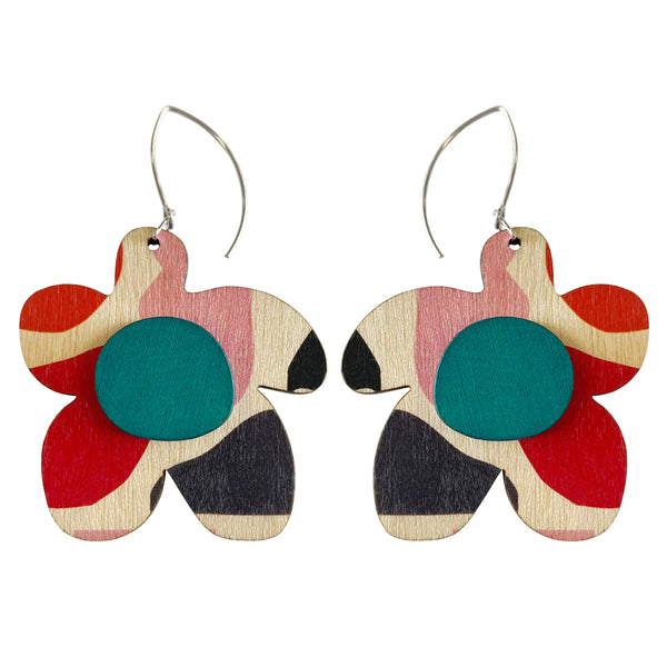 Abstract pattern flower earrings