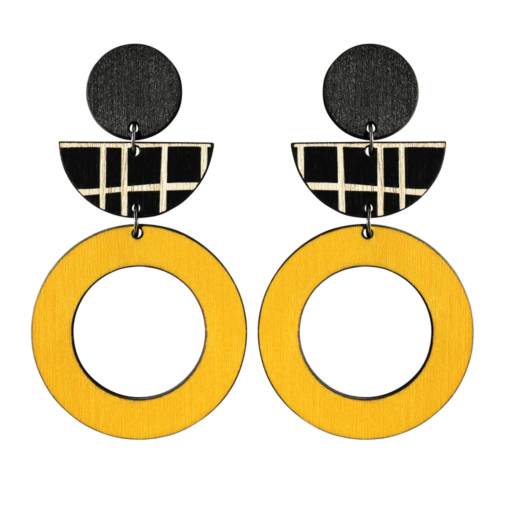 Yellow hoop and black lines statement earrings