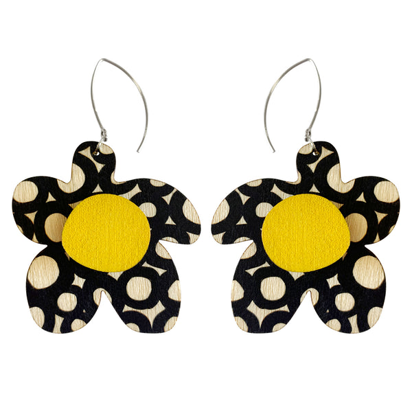 Circle pattern flower earrings